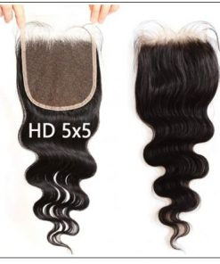 5x5 HD Lace Closure with Bundles Invisible Knots Body Wave Hair Weaves With Transparent Lace Closure Human Hair img 3-min