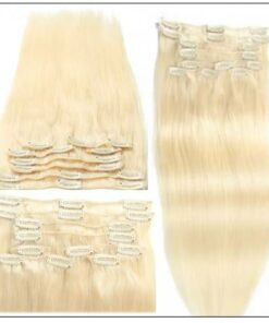 #60 Platium Blonde Clip In Hair Virgin Hair Extensions img 2-min