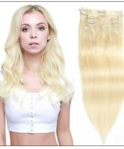 #60 Platium Blonde Clip In Hair Virgin Hair Extensions img-min