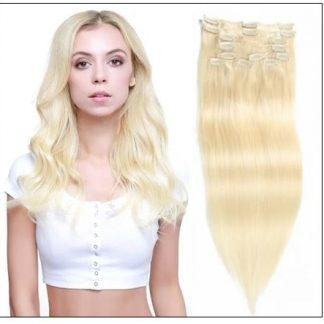 #60 Platium Blonde Clip In Hair Virgin Hair Extensions img-min