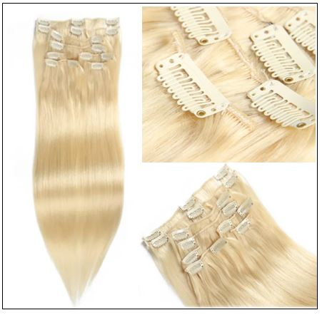 #613 Lightest Blonde Clip In Hair Extensions img 2-min
