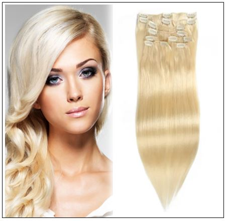 #613 Lightest Blonde Clip In Hair Extensions img-min