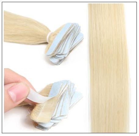 #613 lightest blonde Straight tape in hair extension 100% virgin hair img 2-min