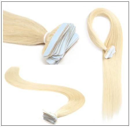 #613 lightest blonde Straight tape in hair extension 100% virgin hair img 3-min