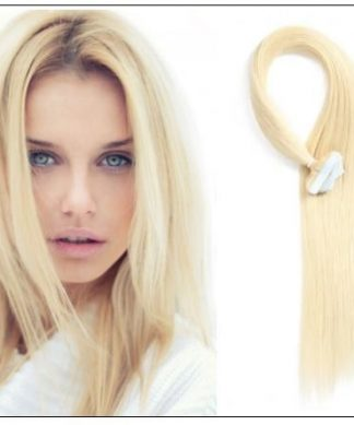 #613 lightest blonde Straight tape in hair extension 100% virgin hair img-min