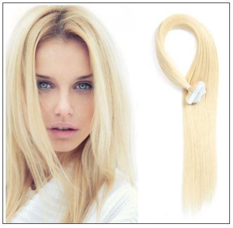 #613 lightest blonde Straight tape in hair extension 100% virgin hair img-min