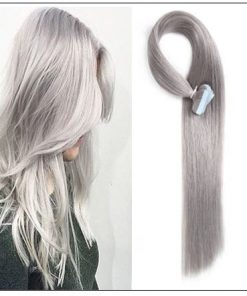 #80 grey Straight tape in hair extension 100% virgin hair img-min