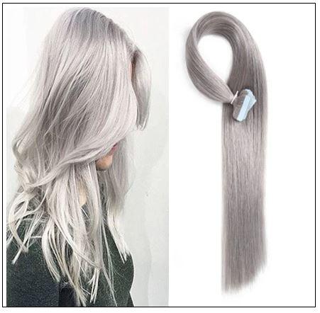 #80 grey Straight tape in hair extension 100% virgin hair img-min
