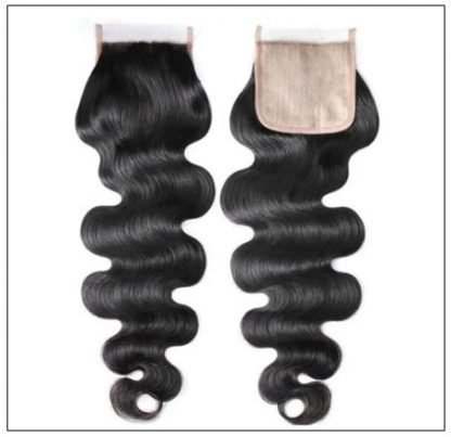 Body wave PU skin base closure pieces 4×4 human hair closure Realistic Scalp natural color img 2
