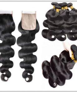 Body wave PU skin base closure pieces 4×4 human hair closure Realistic Scalp natural color img 3