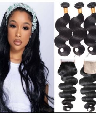 Body wave PU skin base closure pieces 4×4 human hair closure Realistic Scalp natural color img