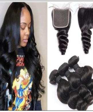 Brazilian 3 Bundles Loose Wave With Lace Closure img-min