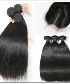 Brazilian Straight Virgin Hair 3 Bundles With Lace Closure img 2-min