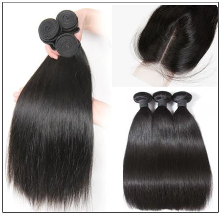 Brazilian Straight Virgin Hair 3 Bundles With Lace Closure img 2-min