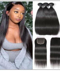 Brazilian Straight Virgin Hair 3 Bundles With Lace Closure img-min