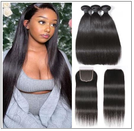 Brazilian Straight Virgin Hair 3 Bundles With Lace Closure img-min