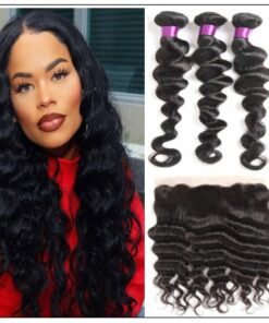 Bundles Loose Deep Wave Human Hair With 13x4 Frontal img-min