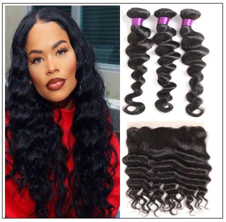 Bundles Loose Deep Wave Human Hair With 13x4 Frontal img-min