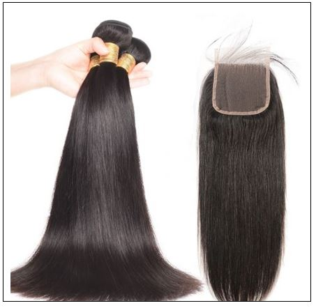 High-quality lace closure with straight hair 3 bundles img 2-min