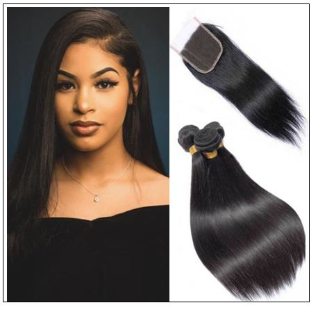 High-quality lace closure with straight hair 3 bundles img-min