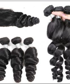 Malaysian Good Quality 3pcs Loose Wave Hair With Lace Closure img 3-min