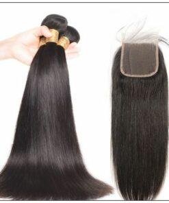 Malaysian straight virgin hair 3 bundles with closure img 2-min