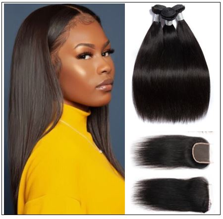 Malaysian straight virgin hair 3 bundles with closure img-min