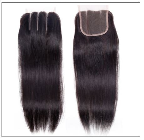 Malaysian straight virgin hair with 3 part lace closure img 3-min
