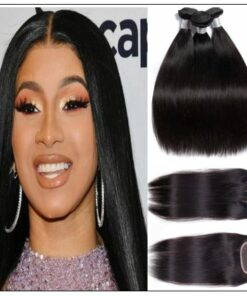 Malaysian straight virgin hair with 3 part lace closure img-min