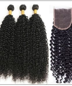 Peruvian Jerry Curly Hair 3 Bundles With Lace Closure img 2-min