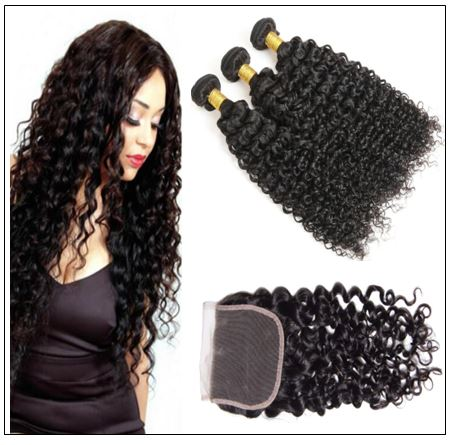 Peruvian Jerry Curly Hair 3 Bundles With Lace Closure img-min
