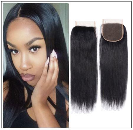 Straight Human Hair Super Thin Skin PU Closure Pieces Natural Black 4x4 Pu Silk Top Closure Free Part Hair Closure img-min