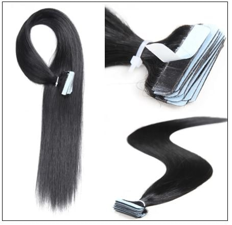 Straight Tape In Hair Extensions #1 Jet Black 100% Virgin Hair IMG 2-min