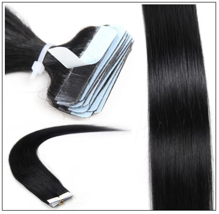 Straight Tape In Hair Extensions #1 Jet Black 100% Virgin Hair IMG 4-min