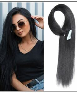Straight Tape In Hair Extensions #1 Jet Black 100% Virgin Hair IMG-min
