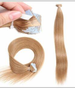 Straight Tape In Hair Extensions #12 Light Brown 100% Virgin Hair IMG 2-min
