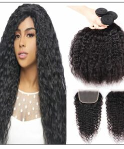 Super Wave Human Hair 3 Bundles With Lace Closure 4x4 Peruvian Virgin Hair Weave img-min