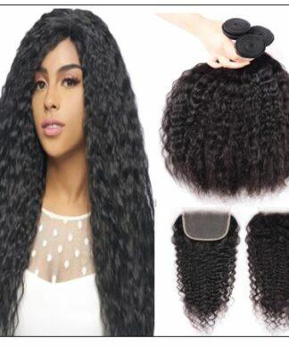 Super Wave Human Hair 3 Bundles With Lace Closure 4x4 Peruvian Virgin Hair Weave img-min