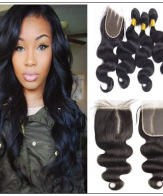 Unprocessed frontal lace closure with 3pcs bodywave virgin hair bundles img