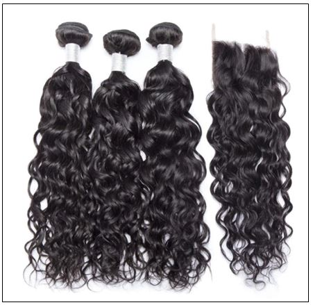 virgin+peruvian water wave 3 bundles product with lace closure img 2-min