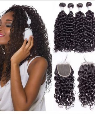 virgin+peruvian water wave 3 bundles product with lace closure img-min