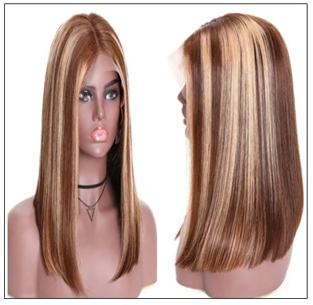 13x4 Highlight Straight Bob Lace Front Human Hair Wigs 150% Density Ombre Color Pre Plucked with Baby Hair Lace Frontal Wigs 2-min