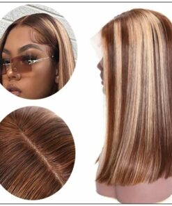 13x4 Highlight Straight Bob Lace Front Human Hair Wigs 150% Density Ombre Color Pre Plucked with Baby Hair Lace Frontal Wigs 3-min