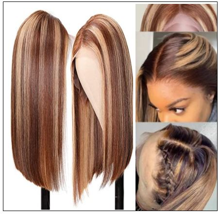 13x4 Highlight Straight Bob Lace Front Human Hair Wigs 150% Density Ombre Color Pre Plucked with Baby Hair Lace Frontal Wigs for Black Women 2