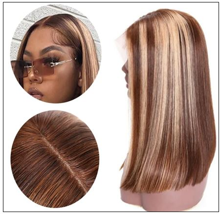13x4 Highlight Straight Bob Lace Front Human Hair Wigs 150% Density Ombre Color Pre Plucked with Baby Hair Lace Frontal Wigs for Black Women 3