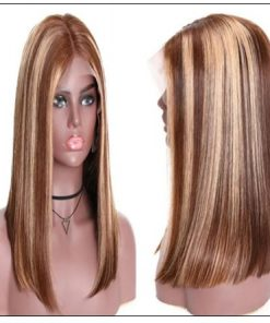 13x4 Highlight Straight Bob Lace Front Human Hair Wigs 150% Density Ombre Color Pre Plucked with Baby Hair Lace Frontal Wigs for Black Women 4