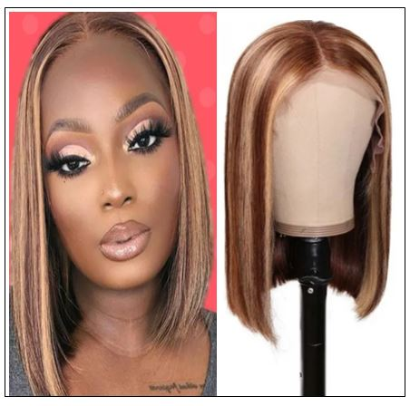 13x4 Highlight Straight Bob Lace Front Human Hair Wigs 150% Density Ombre Color Pre Plucked with Baby Hair Lace Frontal Wigs for Black Women img