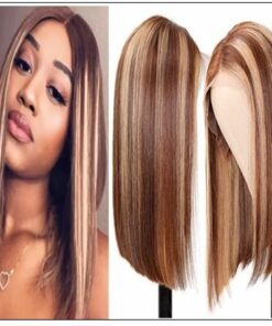 13x4 Highlight Straight Bob Lace Front Human Hair Wigs 150% Density Ombre Color Pre Plucked with Baby Hair Lace Frontal Wigs img-min