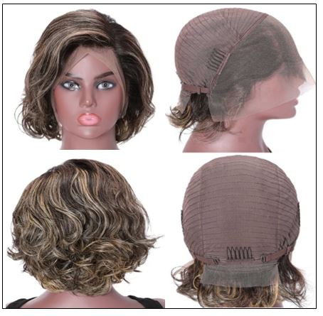 13x4 Lace Front Human Hair Wig Highlight Wavy Bob 8 Inch Free Part Short Bob Lace Front Wigs for Women 4-min