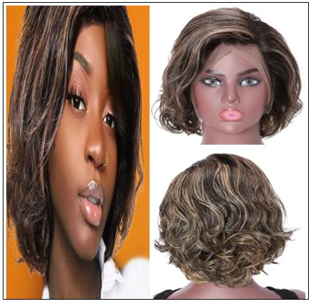 13x4 Lace Front Human Hair Wig Highlight Wavy Bob 8 Inch Free Part Short Bob Lace Front Wigs for Women img-min